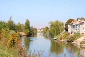 The River Sevre Niortaise at Damvix in the Vendee