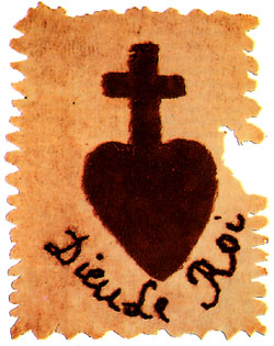 Insignia of the Vendean royalist insurgents. Note the French words 'Dieu Le Roi' beneath the heart-and-cross, meaning 'God (and) the King'